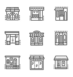 Storefronts line icons vector image vector image
