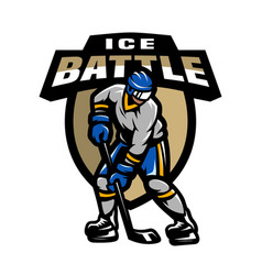 hockey player logo emblem vector image vector image