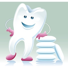 joyful healthy tooth with shewing gum vector image vector image