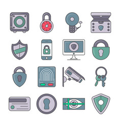 Protection and security pictogram set vector