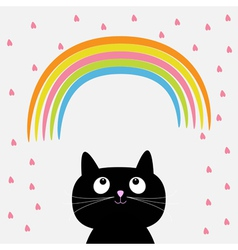 Rainbow and pink heart rain with cute cartoon cat vector image vector image