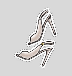 women high heel shoes patch with dashed line vector image vector image