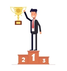 Businessman or manager standing on the winners vector image