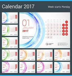Desk Calendar for 2017 Year Week Starts Monday vector image