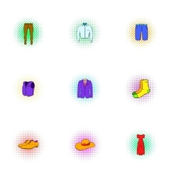 Different clothes icons set pop-art style vector image vector image