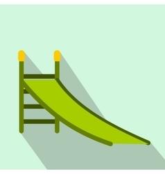 Playground green slide flat icon vector image