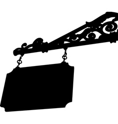 silhouette old store front sign with elegant curls vector image