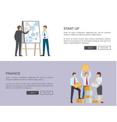 start up and finance web on vector image vector image