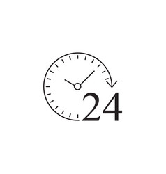 24 hours solid icon customer service support vector image