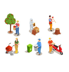 applicable professions isometric set vector image