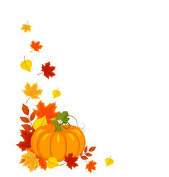 background with autumn leaves pumpkin vector image