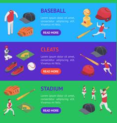 baseball game sport signs 3d banner horizontal set vector image