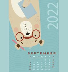 Bear calendar september 2022 cute scientist vector