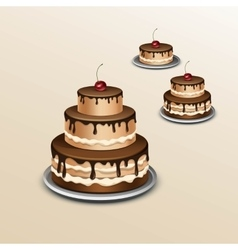 Birthday Cake with Cherry Isolated on Background vector image