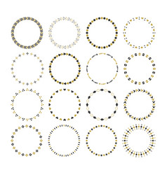 black and golden round circle empty emblems set vector image