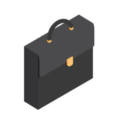 black leather briefcase isolated vector image
