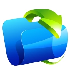 Blue folder icon with green arrow vector image