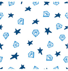 blue gemstone and star signs seamless pattern vector image