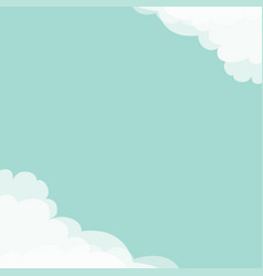 blue sky cloud in corners frame template vector image