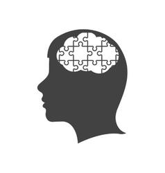 brain puzzle head silhouette idea icon vector image