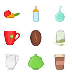 brew icons set cartoon style vector image