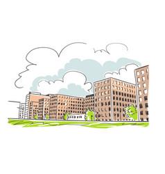 buildings sketch sketch line colorful watercolor vector image