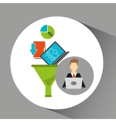Business man working laptop data analytics vector