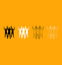 business people black and white set icon vector image