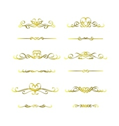 Calligraphic frame golden set vector image