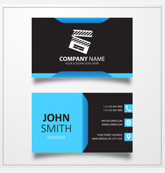 Clapper icon business card template vector