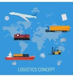 Concept of logistics transportation on world map vector