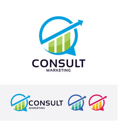 consult marketing logo design vector image
