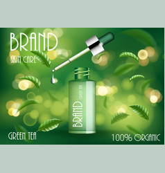 cosmetic product ads template green tea skin care vector image
