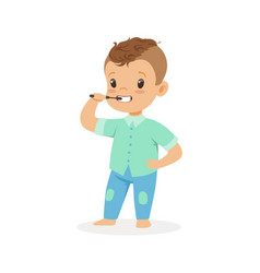 Cute cartoon boy brushing his teeth kids dental vector