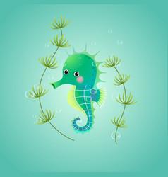 Cute cartoon seahorse in sea vector