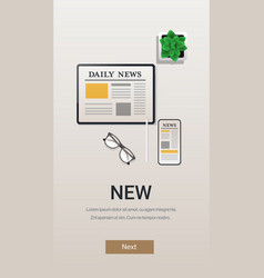 daily news on smartphone and tablet screens online vector image