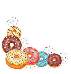 Decoration with glaze donuts and sprinkles vector