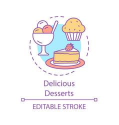 delicious desserts concept icon vector image