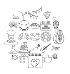 Delight icons set outline style vector