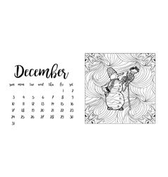 Desk calendar template for month December vector