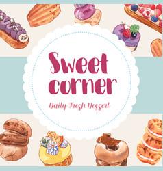 Dessert frame design with cupcake cookie doughnut vector