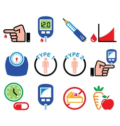 Diabetes disease health medical icons set vector