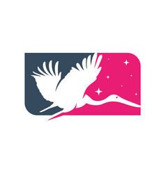 egret animal logo design vector image