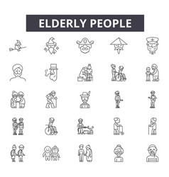elderly people line icons for web and mobile vector image