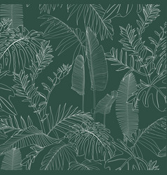 elegant seamless pattern with line tropical leaves vector image