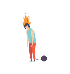 Exhausted man with shackles and burning brain vector