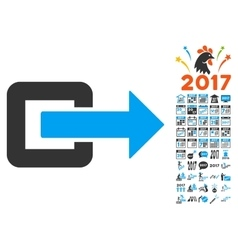 Exit Direction Icon With 2017 Year Bonus vector
