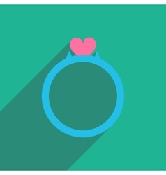 Flat icon with long shadow wedding ring vector
