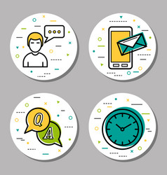four round online help icons vector image