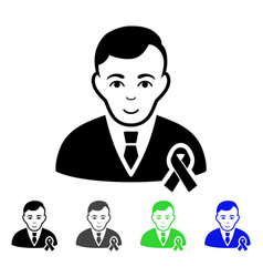 gentleman with mourning ribbon flat icon vector image